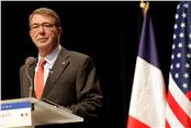 U.S Defense Secretary Ashton Carter delivers a speech during a conference in Paris, Thursday, Jan 21, 2016.  Carter said Wednesday that defense ministers from France and five other nations have agreed to intensify the campaign against Islamic State group in Iraq and Syria, and that the coalition will work together to fill the military requirements as the fight unfolds over the coming months. (AP Photo/Christophe Ena) (File: France Islamic State Group.JPEG-01b0f.jpg )